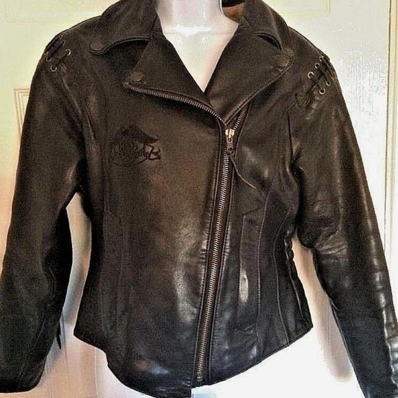 bd890d5f7 Black Leather Biker Motorcycle Jacket Lace Up Back